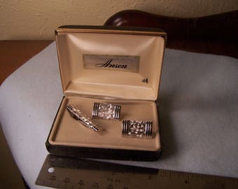 Men's Vintage Cuff Links Anson New In Box Silver Toned with Tie Clasp