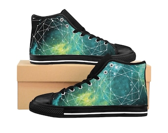 Outer Space MenS HighTop Sneakers Geometry Design Mens Canvas Shoes Nerdy Gift Space Shoes Galaxy Galactic Nebula