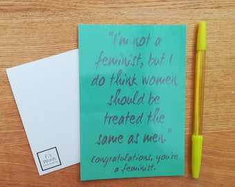 Congratulations You're a Feminist Print | Green Sarcastic Feminism Definition Art Print Bookmark Postcard | Civil Rights Feminism Gift