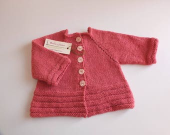 Jacket-cardigan hand knitted, wool coral pink baby girl, size 3 to 6 months