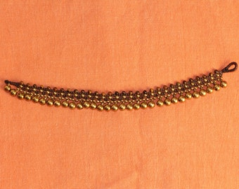 Boho Anklet with Brown Beads and Bells