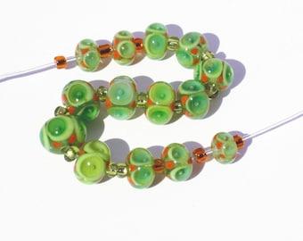 "Handmade Lampwork Bead set of 14 ""Poked Eye"" Beads, Citrus Lime Orange Ready to Ship."