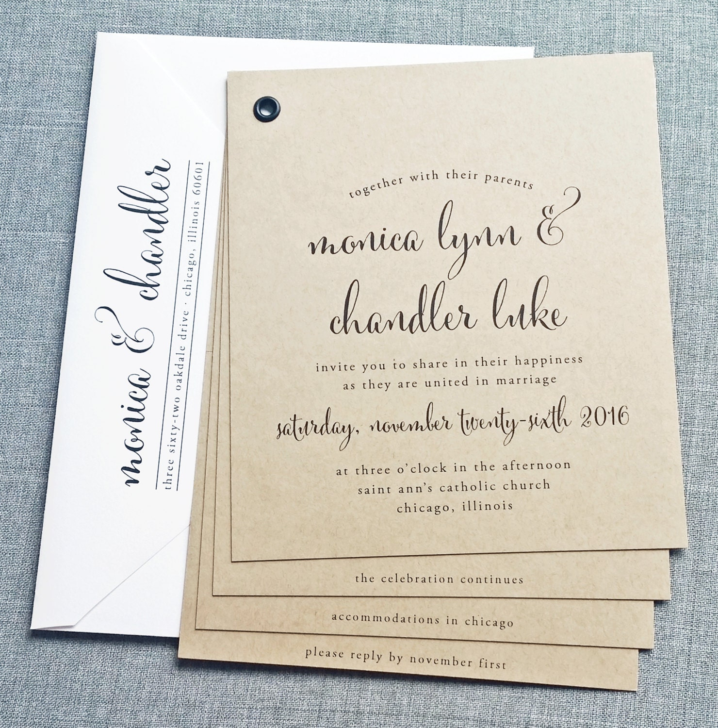 Rustic Wedding Invitation Fonts: Monica Kraft Booklet Wedding Invitation Sample Black