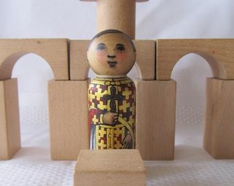 "Priest Peg Doll Byzantine watercolored large size 3.5"""