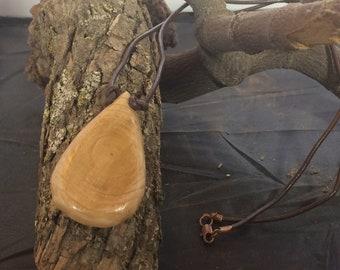 Wood tear drop necklace