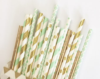 Mint To Be straw mix//paper straws, straw, party decorations, party supplies, bachelorette party, baby shower, birthday party, decor