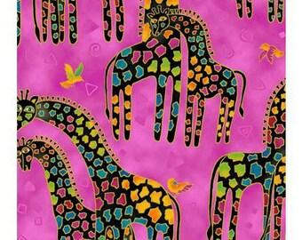 Laurel Burch Mythical Jungle Giraffes Pink Fabric