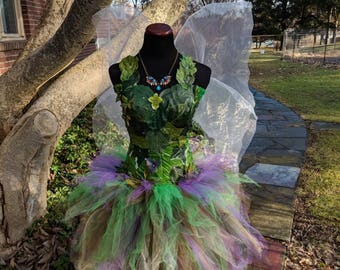 Adult Woodland fairy costume dress,Woodland fairy dress with green foliage leaves,fairy festival costume,  size XXS- XL,also large sizes