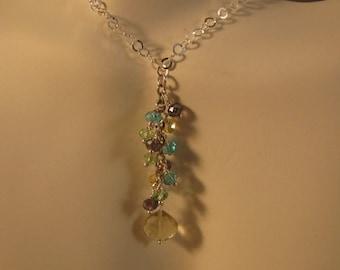 Gemstone Cluster Necklace,cluster necklace,gemstone custer,gemstone necklace,silver necklace,lemon quartz necklace,necklace,jewelry,necklace