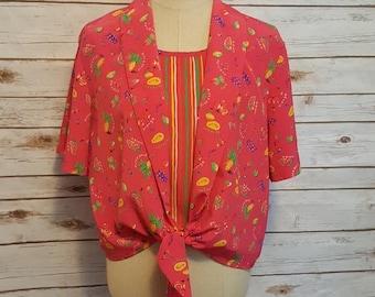 """Vintage, 80's, Leslie Fay hot pink """"fruit salad"""" blouse/ XL"""