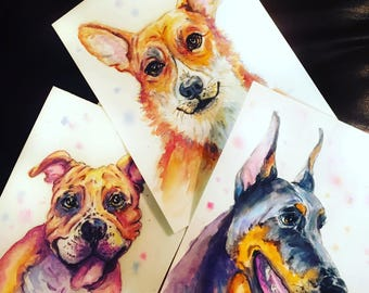 Gift for mother Custom Dog portrait Custom Dog Painting Custom Pet portrait  Watercolor Painting Original Painting