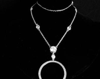 Eternity necklace CZ necklace sterling pendant sterling necklace stocking stuffer secret santa for her