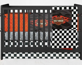 Crib Bedding Motorcycle Street Bike Harley Davidson Old School Vinatge Hogs Boy Girl