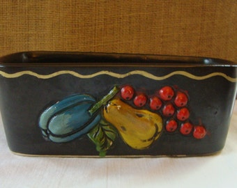 VINTAGE INARCO JAPAN Rectangular Ceramic Pottery Dish Planter Mid Modern Planter Black With Gold Pin Striping Trim Colorful Raised Fruit