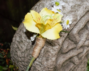 Artificial Yellow Alstromeria with Daisies Pin on  Buttonhole/Boutonniere, Wedding Buttonhole.Corsage