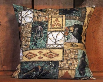 Woodland Bears Cabin Removable Decorative Throw Pillow Cover, 18 x 18