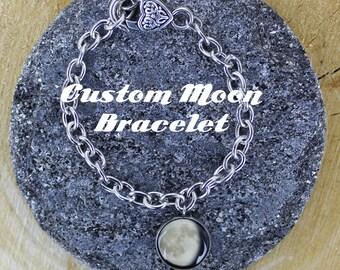 Custom Moon Phases Silver Bracelet