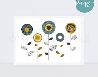 Art Print Turquoise Mustard Grey A3   Floral Stem Contemporary