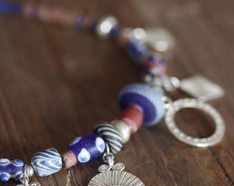"""Handmade silver charms and glass-paste beads """"gipsy"""" necklace (N0094)"""