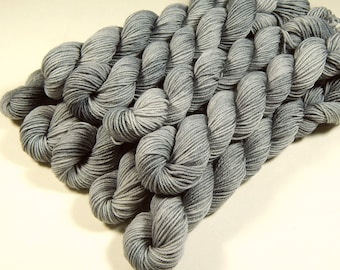 Mini Skeins Sock Yarn, Hand Dyed Yarn, Sock Weight 4 Ply Superwash Merino Wool Yarn - Silver Lining - Fingering Knitting Yarn, Gray Grey