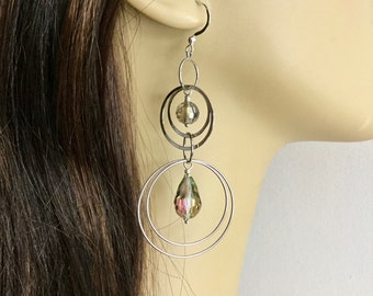 Silver hoop multi-ring dangle earrings with green teal purple iridescent crystals, bohemian style E133