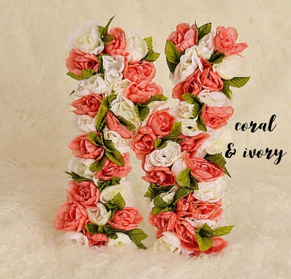 Custom Floral Letter in Coral & Ivory | Nursery Floral Initial | Floral Letters