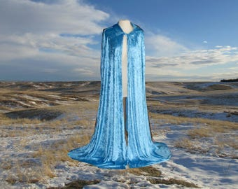 Cloak - Hooded Blue Velvet - Wedding - Renaissance Festival - Costume - Halloween - LOTR - Elven - Halloween Costume