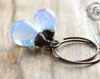 Fairy Drop Earrings in Pale Blue. Simple Rustic Everyday Czech Glass Hoop Drop Earrings in Gryphon Milk With Sterling Silver or Copper.