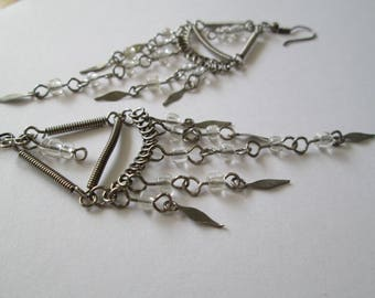 Vintage White Glass Chandelier earrings