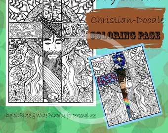 Christian Cross Jesus is Love Tangle Coloring Page