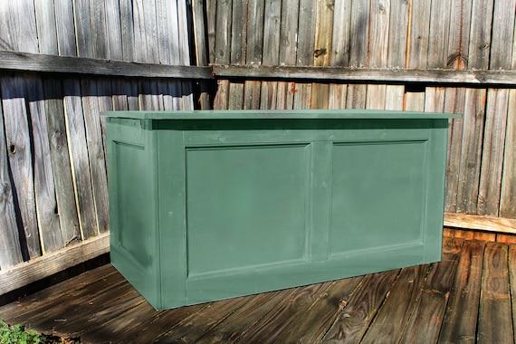 Cofre de madera mesa entrada pecho tronco verde pecho de
