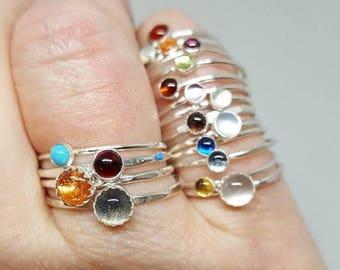 Mothers day birthstone ring - Custom personalized ring with stone - birthstone stacking ring - birthstone ring- skinny band with stone