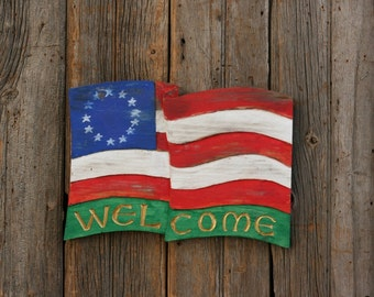 WELCOME FLAG sign