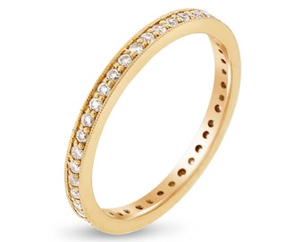 0.38 CT Natural Round Diamond Eternity Band in Solid 18k Yellow Gold