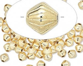 GOLD Plated Double Cone beads 5 MM 50 pcs