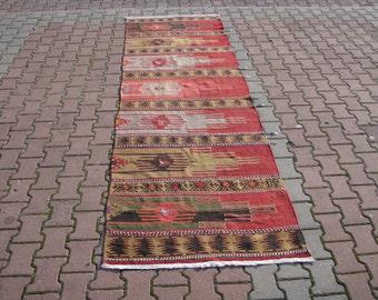 TURKISH KILIM RUNNER-Hallway Rug Runner Kilim-Geometric Design Runner-Aztec Hallway Runner Kilim-Aztec Kilim Runner-Birds Design Kilim Rug