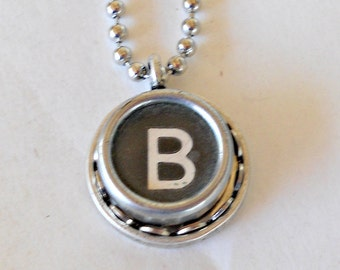 Retro Typewriter Key Necklace Graduation Gift Typist Book Lover Author Initial Vintage Jewelry  All Letters A-Z