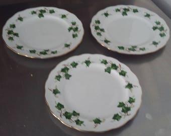 3 Colclough Green Ivy Plates 2 @ 210 mm 1 @203 mm