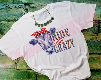 Hide Your Crazy Cow in Bandanna vintage style triblend short sleeve womens t-shirt, ladies top, Fun Heifer, Trendy Farm Shirt