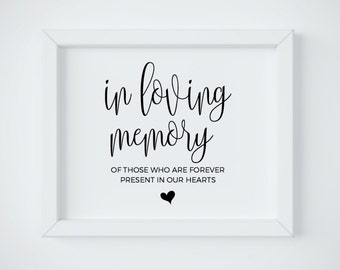 In Loving Memory Sign, Remembrance Sign, In Loving Memory Wedding Sign, Wedding Memorial Table, Memorial Table Sign, Wedding Sign Template