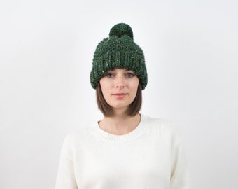 Chunky Knit Hat, Fold-Over Brim Beanie, Wool Blend | THE DUBLIN in Pine