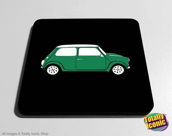 Mini Car Classic TURQUOISE/AQUA Drinks Coaster Mat - Classic Mini - Mini Cooper - Austin Mini Car