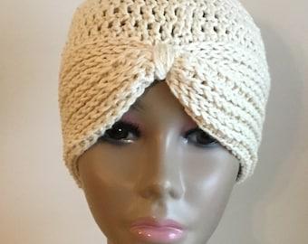 Women's crochet hat, summer / spring, turban, COTTON/SILK, chemo hat, ecru, Ready to ship.  S70