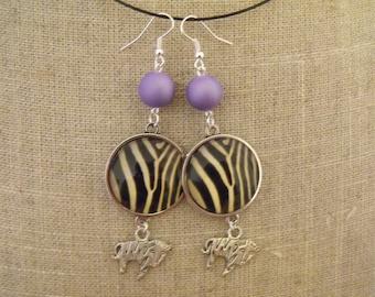 SALE Zebra 25mm purple cabochon Pearl Earrings