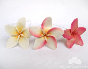 Single frangipani plumeria 5cm, gumpaste sugar flower for wedding celebration cake