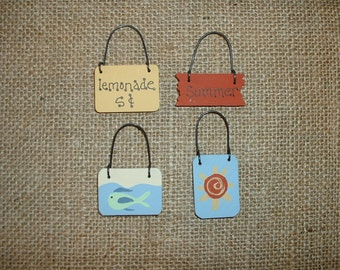 Hand painted mini wooden ornaments celebrating Summer