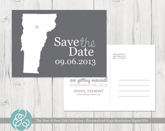 Save the Date : Custom Wedding Location and State Map Postcards - Printable File - Any State or Country Available