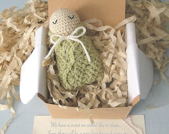 Baby Announcement Announcement to Grandparents, Pregnancy Reveal, New Daddy, Little Swaddled Baby Doll, Ready to Ship, Gender Neutral Colors