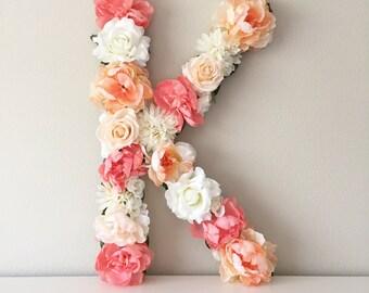 LARGE Flower Letter, Floral Nursery Letter, Personalized Letter, Nursery Wall Hanging, Girl Room Decor, Baby Letter, Letter Wall Art
