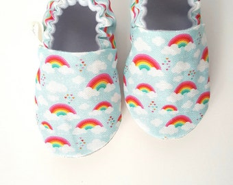 Rainbow Baby Moccs / Baby Shoes / Baby Moccasins / Childrens Indoor Shoes / Waldorf / Montessori / Sof Soled Baby Shoes  / Spring
